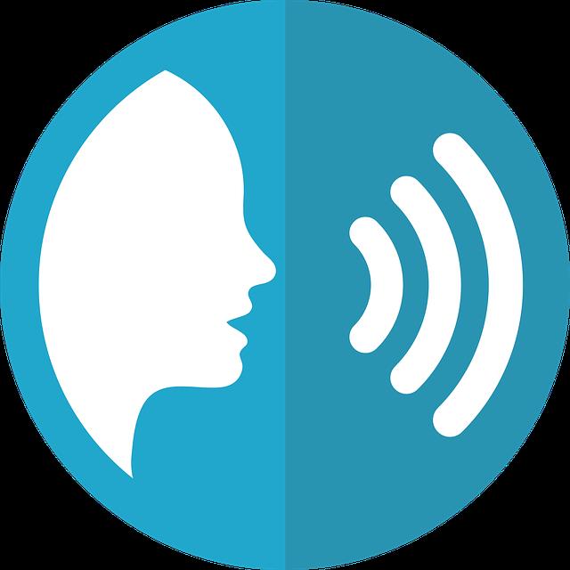 kreslená modrá ikona hlasového vyhledávání