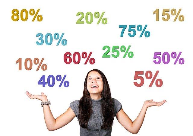 žena a nad ní číslice s procenty